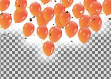Знамя партии торжества с оранжевыми воздушными шарами иллюстрация вектора