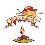 Знамя партии Festa Junina бразильянина с солнцем также вектор иллюстрации притяжки corel Стоковая Фотография RF