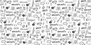 Знамя переводчика языка с doodle рук-притяжки на предпосылке Концепция переводя агенства и интерпретировать иллюстрация штока