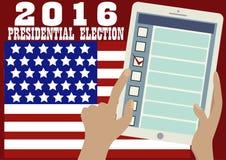 Знамя 2016 президентских выборов Онлайн голосование Стоковое Изображение RF