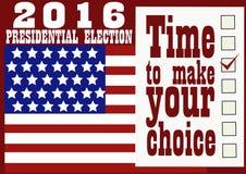 Знамя 2016 президентских выборов Стоковые Изображения