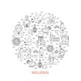 Знамя предохранения гриппа круглое Стоковые Фотографии RF