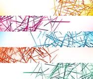 Знамя, предпосылки кнопки с абстрактными случайными, хаотическими линиями иллюстрация вектора