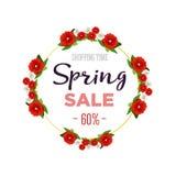 Знамя предпосылки продажи весны с красочными цветками 60 процентов также вектор иллюстрации притяжки corel Стоковая Фотография RF