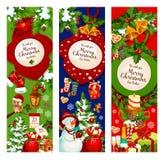 Знамя приветствию венка рождественской елки и падуба бесплатная иллюстрация