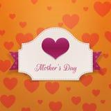 Знамя приветствию дня матерей с большим сердцем Стоковые Фотографии RF
