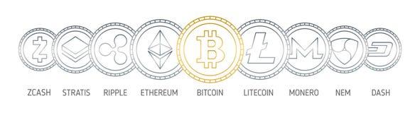 Знамя при монетки cryptocurrency нарисованные с линиями контура на белой предпосылке Логотипы валют цифров - Bitcoin иллюстрация вектора