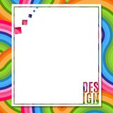 Знамя пробела конспекта прямоугольное с элементом дизайна текста на яркой красочной предпосылке волнистых линий элемента для desi
