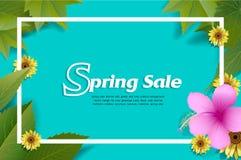 Знамя продажи весны с зелеными лист и красочной предпосылкой Стоковые Фото