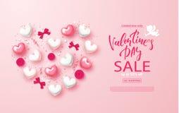 Знамя продажи дня валентинок Красивая предпосылка с сердцами, смычками, розами и серпентином Иллюстрация вектора для вебсайта, ст Стоковые Фотографии RF