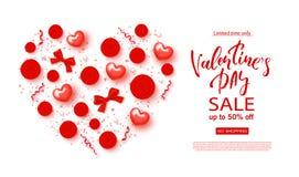 Знамя продажи дня валентинок Красивая предпосылка с сердцами, смычками, розами и серпентином Иллюстрация вектора для Стоковое фото RF