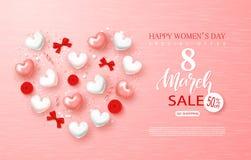 Знамя продажи дня счастливых женщин 8-ое марта Красивая предпосылка с сердцами, смычками, розами и серпентином также вектор иллюс Стоковая Фотография RF