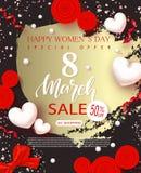 Знамя продажи дня счастливых женщин 8-ое марта Красивая предпосылка с сердцами, смычком, розами и серпентином также вектор иллюст Стоковое фото RF