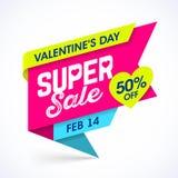 Знамя продажи дня ` s валентинки супер иллюстрация вектора
