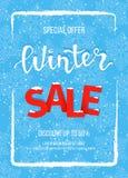 Знамя продажи зимы, плакат, шаблон рогульки в рамке снега на голубой предпосылке снежинок Специальное сезонное предложение иллюстрация вектора