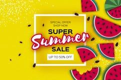Знамя продажи лета арбуза супер в стиле отрезка бумаги Куски арбуза Origami сочные зрелые Здоровая еда на желтом цвете Стоковое Изображение