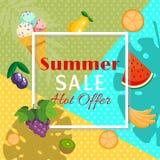 Знамя продажи лета с плодами как апельсин, арбуз, банан, киви, виноградины, слива, груша с листьями дерева и лед иллюстрация штока