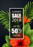 Знамя продажи лета с тропическими цветками и листьями для продвижения Стоковые Фото