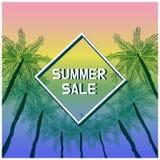 Знамя продажи лета с тропической покрашенной предпосылкой бесплатная иллюстрация