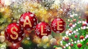 Знамя продажи на красных шариках рождества с круглым хлопь снега на предпосылке bokeh 4K сток-видео