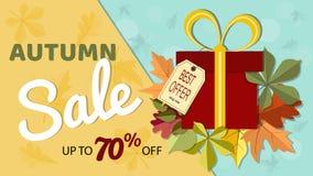 Знамя продажи осени с красочными листьями падения и подарком bo Стоковая Фотография RF