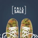 Знамя продажи падения с ботинками camo на фоне джинсовой ткани бесплатная иллюстрация