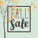 Знамя продажи падения с надписью и деревьями бесплатная иллюстрация
