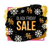 Знамя продажи пятницы вектора черное с снежинками Конструируйте шаблон для продажи рождества, продажи зимы или продажи Нового Год Стоковые Фото