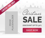 Знамя продажи рождества Белая предпосылка, снежинки, деревья, указатель места заполнения изображения Стоковое Фото