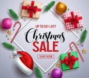 Знамя продажи рождества выдвиженческое с подарками и красочными элементами рождества бесплатная иллюстрация