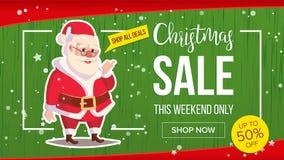 Знамя продажи рождества с классическим вектором Санта Клауса Иллюстрация дизайна рекламы маркетинга Дизайн шаблона для Стоковая Фотография RF