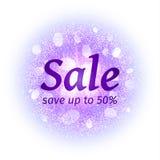 Знамя продажи на абстрактной предпосылке взрыва с фиолетовыми блестящими элементами Взрыв накаляя звезды Свет фейерверка пыли Стоковое фото RF