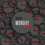 Знамя продажи понедельника кибер, плакат или рогулька promo модель-макета специальные, часы 3d и круглая зона для рекламировать Стоковые Фотографии RF