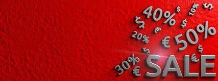 Знамя продажи с знаком доллара и евро Схематическая графическая иллюстрация рекламировать перевод 3d Стоковые Изображения RF