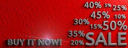 Знамя продажи с ` ` надписи купить сейчас Схематическая графическая иллюстрация рекламировать перевод 3d бесплатная иллюстрация