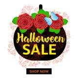 Знамя продажи хеллоуина, плакат Стоковые Фотографии RF