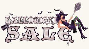 Знамя продажи хеллоуина с сексуальной ведьмой бесплатная иллюстрация