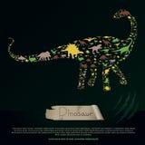 Знамя плоского динозавра и доисторического гада животное infographic Стоковое Изображение RF