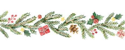 Знамя рождества вектора акварели с ветвями и местом ели для текста Стоковые Изображения RF
