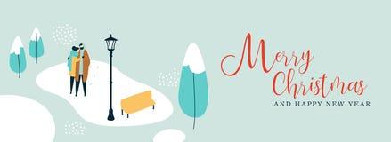 Знамя рождества пар идя в снег иллюстрация вектора