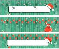Знамя рождества собрания, предпосылка дизайна Нового Года деревянная с гирляндой иллюстрация штока