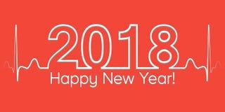 Знамя рождества, 2018 счастливых Новых Годов, волна стиля вектора 2018 cardiogram Стоковые Фотографии RF