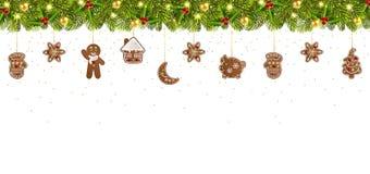 Знамя рождества с гирляндой и пряником рождества иллюстрация штока