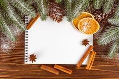 Знамя рождества с зеленым деревом, конусами, handmade украшениями войлока, апельсином и циннамоном на белой деревянной предпосылк Стоковая Фотография RF