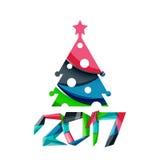 Знамя рождества геометрическое, 2017 Новых Годов иллюстрация вектора