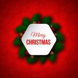 Знамя рождества декоративное с сосной разветвляет, красные шарики, сосна иллюстрация штока
