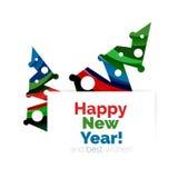 Знамя рождества и Нового Года геометрическое с текстом Стоковые Изображения RF