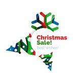 Знамя рождества и Нового Года геометрическое с текстом Стоковое Изображение RF
