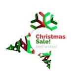 Знамя рождества и Нового Года геометрическое с текстом Стоковые Изображения