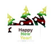 Знамя рождества и Нового Года геометрическое с текстом Стоковое Изображение